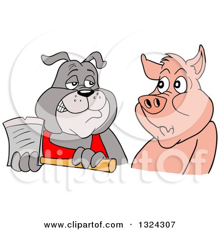 Clipart of a Cartoon Chef Bulldog Holding an Axe and Eying a Pig - Royalty Free Vector Illustration by LaffToon