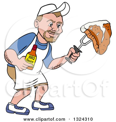 Clipart of a Cartoon White Man Holding a Bottle of Bbq Sauce and a Steak - Royalty Free Vector Illustration by LaffToon