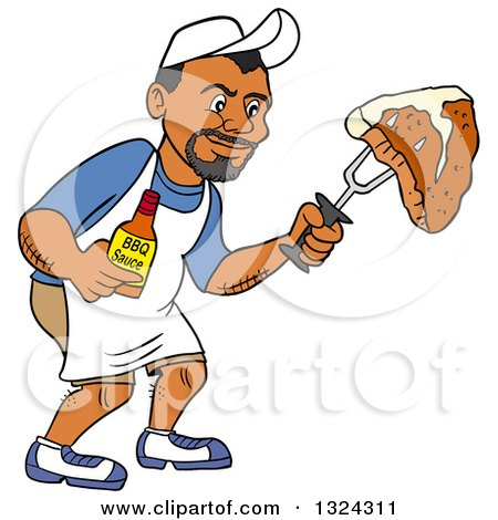 Clipart of a Cartoon Black Man Holding a Bottle of Bbq Sauce and a Steak - Royalty Free Vector Illustration by LaffToon