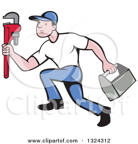Clipart of a Cartoon White Male Plumber Sprinting with a Tool Box and Monkey Wrench - Royalty Free Vector Illustration by patrimonio