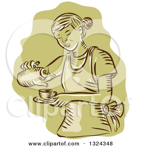 Clipart of a Retro Engraved or Sketched Waitress Pouring Tea into a Cup, over Green - Royalty Free Vector Illustration by patrimonio