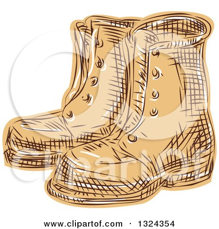 Retro Engraved or Sketched Pair of Boots Posters, Art Prints