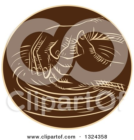 Clipart of Retro Engraved or Sketched Hands Shaping Clay on a Pottery Wheel - Royalty Free Vector Illustration by patrimonio