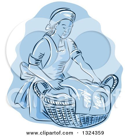 Clipart of a Retro Engraved or Sketched Maid Carrying a Basket of Laundry over Blue - Royalty Free Vector Illustration by patrimonio