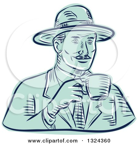 Clipart of a Retro Engraved or Sketched Man in a Fedora Hat, Drinking Coffee - Royalty Free Vector Illustration by patrimonio