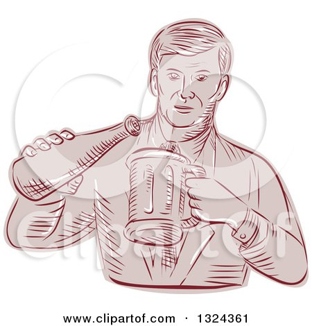 Clipart of a Retro Engraved or Sketched Man Pouring Beer into a Mug - Royalty Free Vector Illustration by patrimonio