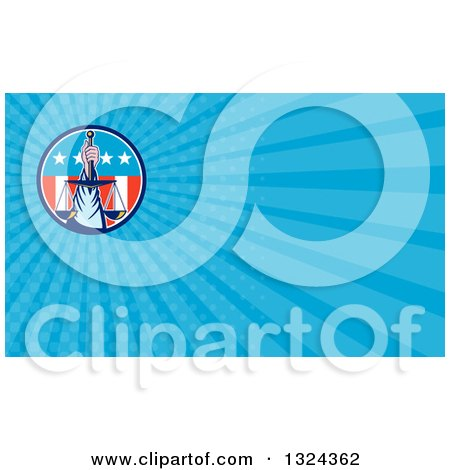 Clipart of a Retro Hand Holding up Scales of Justice in a Circle of American Stars and Stripes and Blue Rays Background or Business Card Design - Royalty Free Illustration by patrimonio