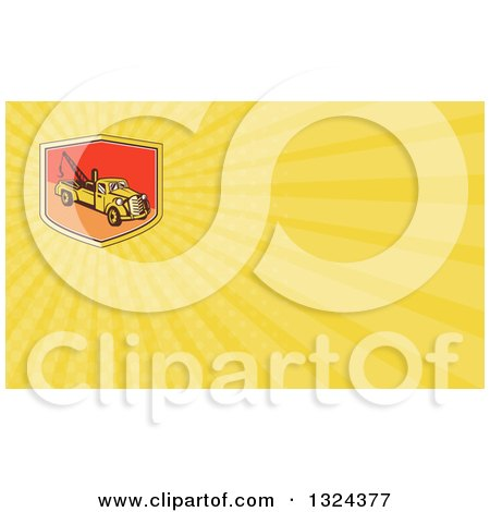 Clipart of a Retro Tow Truck and Yellow Rays Background or Business Card Design - Royalty Free Illustration by patrimonio