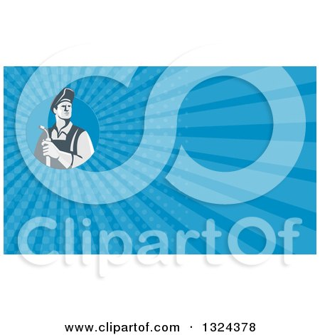 Clipart of a Retro Male Welder Holding a Torch and Blue Rays Background or Business Card Design - Royalty Free Illustration by patrimonio