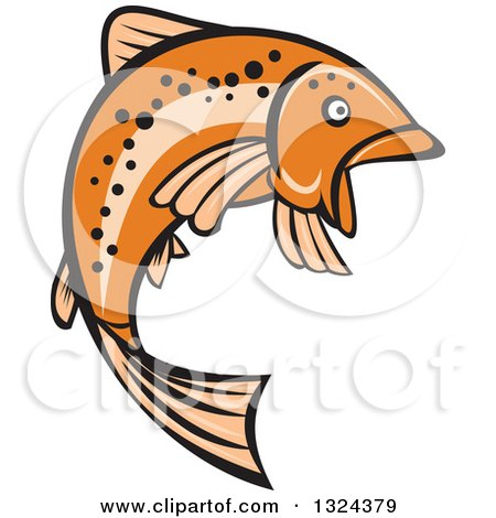 Clipart of a Retro Orange Leaping Rainbow Trout Fish - Royalty Free Vector Illustration by patrimonio
