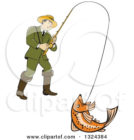 Clipart of a Retro Cartoon Male Fisherman Reeling in a Rainbow Trout - Royalty Free Vector Illustration by patrimonio