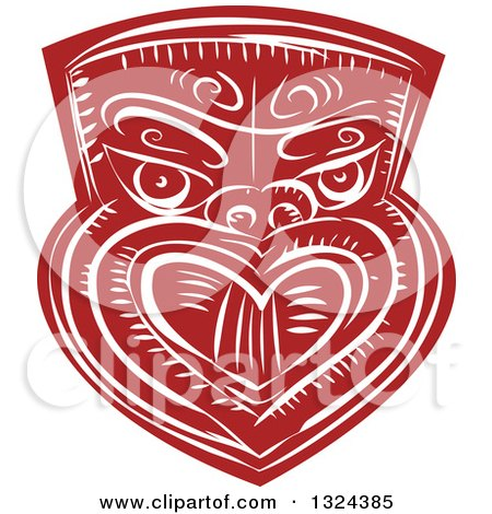 Clipart of a Retro Maori Mask in Red and White - Royalty Free Vector Illustration by patrimonio
