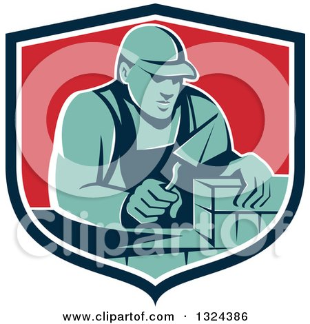 Clipart of a Retro Male Mason Worker Laying a Brick Wall in a Blue White and Red Shield - Royalty Free Vector Illustration by patrimonio