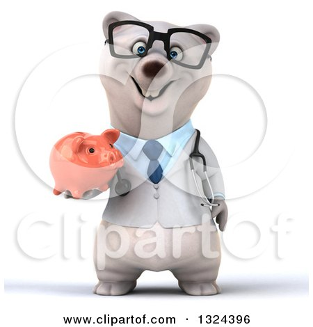 Clipart of a 3d Happy Bespectacled Polar Bear Doctor or Veterinarian Holding a Piggy Bank - Royalty Free Illustration by Julos
