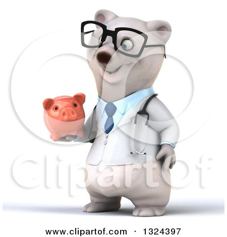 Clipart of a 3d Happy Bespectacled Polar Bear Doctor or Veterinarian Facing Left and Holding a Piggy Bank - Royalty Free Illustration by Julos
