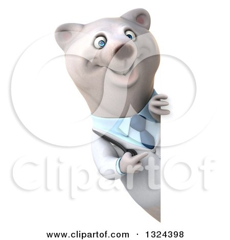 Clipart of a 3d Happy Polar Bear Doctor or Veterinarian Pointing Around a Sign - Royalty Free Illustration by Julos