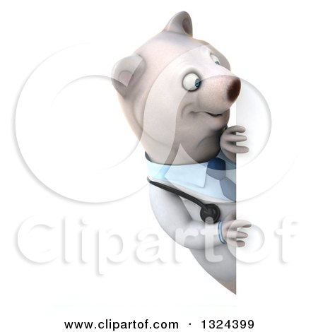 Clipart of a 3d Happy Polar Bear Doctor or Veterinarian Looking Around a Sign - Royalty Free Illustration by Julos
