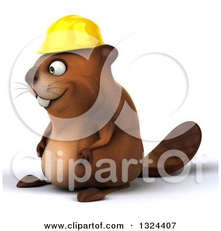 Clipart of a 3d Happy Construction Beaver Facing Left - Royalty Free Illustration by Julos