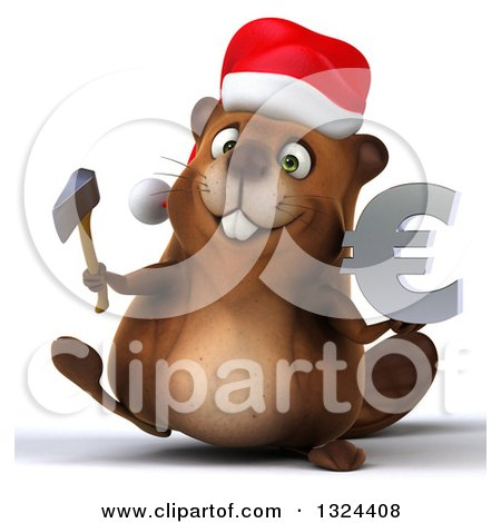 Clipart of a 3d Christmas Beaver Walking with an Axe and Euro Symbol - Royalty Free Illustration by Julos