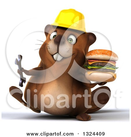 Clipart of a 3d Happy Construction Beaver Walking with a Double Cheeseburger and Wrench - Royalty Free Illustration by Julos