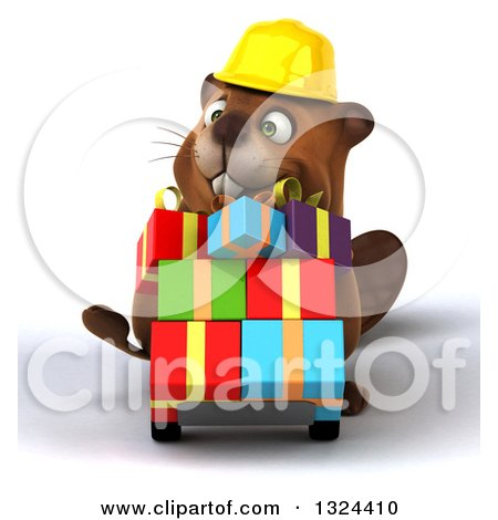 Clipart of a 3d Happy Construction Beaver Pushing Gifts on a Dolly - Royalty Free Illustration by Julos