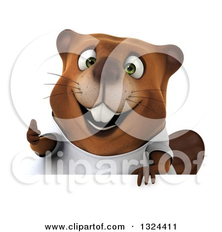 Clipart of a 3d Happy Casual Beaver Wearing a T Shirt and Giving a Thumb up over a Sign - Royalty Free Illustration by Julos