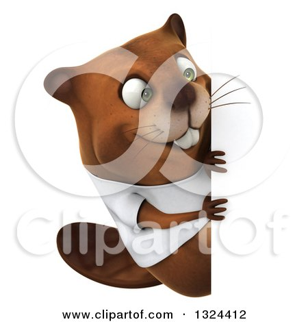 Clipart of a 3d Happy Casual Beaver Wearing a T Shirt and Looking Around a Sign - Royalty Free Illustration by Julos
