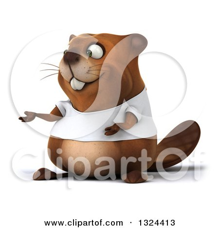 Clipart of a 3d Happy Casual Beaver Wearing a T Shirt and Presenting - Royalty Free Illustration by Julos