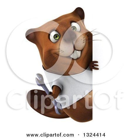 Clipart of a 3d Happy Casual Beaver Wearing a T Shirt and Holding a Wrench Around a Sign - Royalty Free Illustration by Julos