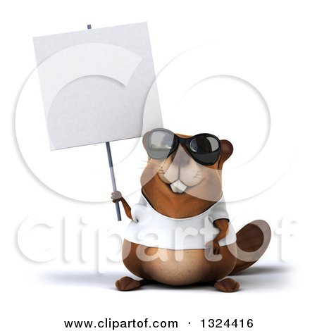 Clipart of a 3d Happy Casual Beaver Wearing a T Shirt and Sunglasses, Holding a Blank Sign - Royalty Free Illustration by Julos