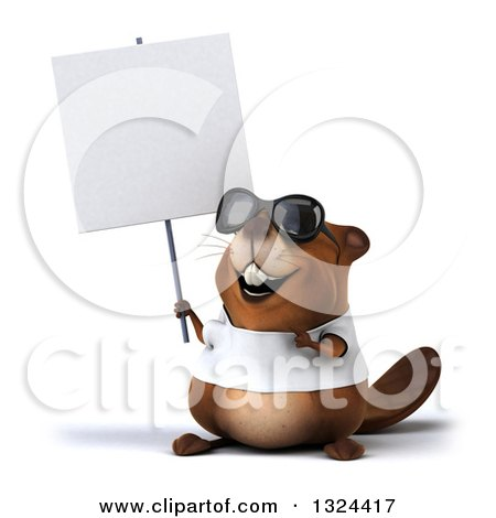 Clipart of a 3d Happy Casual Beaver Wearing a T Shirt and Sunglasses, Holding and Pointing to a Blank Sign - Royalty Free Illustration by Julos