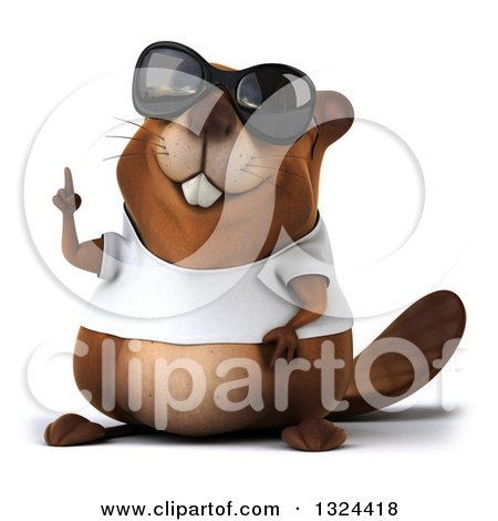 Clipart of a 3d Happy Casual Beaver Wearing a T Shirt and Sunglasses, Holding up a Finger - Royalty Free Illustration by Julos