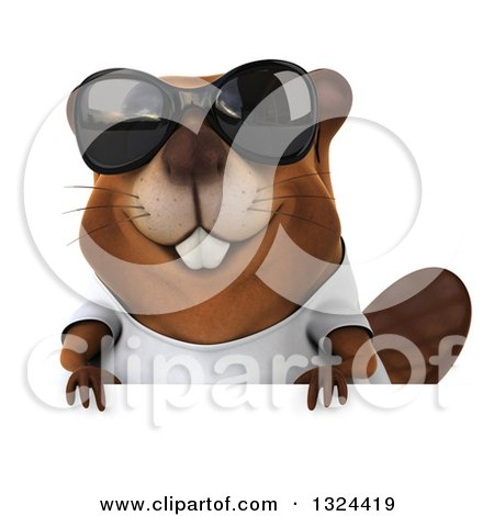 Clipart of a 3d Happy Casual Beaver Wearing a T Shirt, Sunglasses and Looking over a Sign - Royalty Free Illustration by Julos