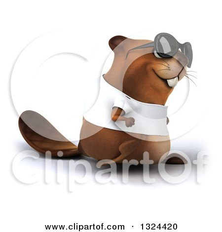 Clipart of a 3d Happy Casual Beaver Wearing a T Shirt and Sunglasses, Walking to the Right - Royalty Free Illustration by Julos