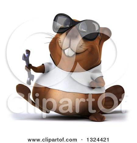 Clipart of a 3d Happy Casual Beaver Wearing a T Shirt and Sunglasses, Walking and Holding a Wrench - Royalty Free Illustration by Julos