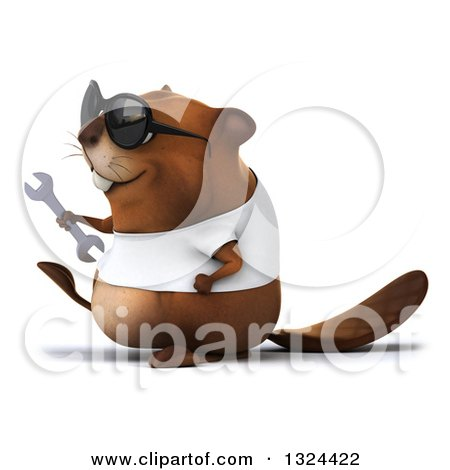Clipart of a 3d Happy Casual Beaver Wearing a T Shirt and Sunglasses, Walking to the Left and Holding a Wrench - Royalty Free Illustration by Julos