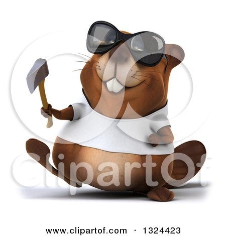 Clipart of a 3d Happy Casual Beaver Wearing a T Shirt and Sunglasses, Walking and Holding an Axe - Royalty Free Illustration by Julos