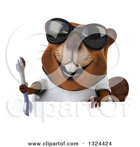 Clipart of a 3d Happy Casual Beaver Wearing a T Shirt, Sunglasses and Holding a Wrench over a Sign - Royalty Free Illustration by Julos