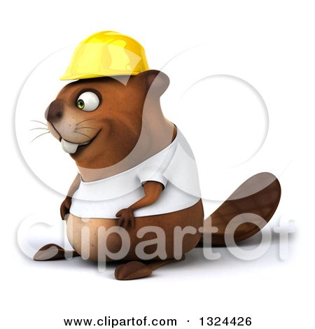 Clipart of a 3d Construction Beaver Wearing a T Shirt and Hardhat, Facing Left - Royalty Free Illustration by Julos