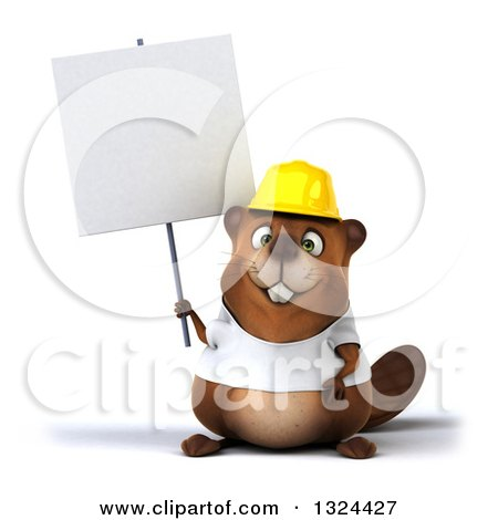 Clipart of a 3d Construction Beaver Wearing a T Shirt and Hardhat, Holding a Blank Sign - Royalty Free Illustration by Julos