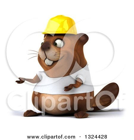 Clipart of a 3d Construction Beaver Wearing a T Shirt and Hardhat, Presenting - Royalty Free Illustration by Julos