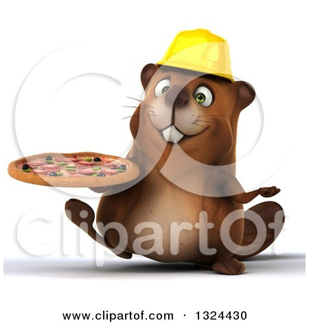 Clipart of a 3d Happy Construction Beaver Walking with a Pizza - Royalty Free Illustration by Julos