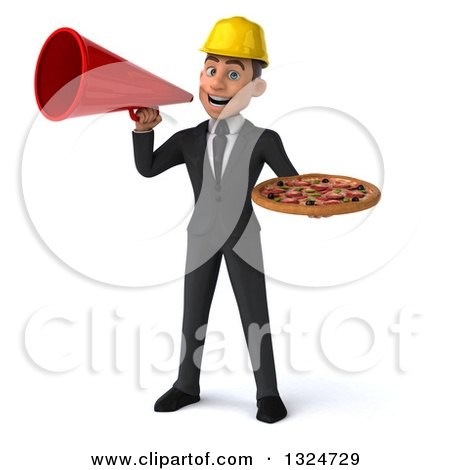 Clipart of a 3d Young White Male Architect Holding a Pizza and Announcing with a Megaphone - Royalty Free Illustration by Julos