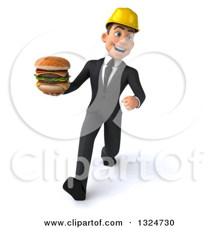 Clipart of a 3d Young White Male Architect Speed Walking and Holding a Double Cheeseburger - Royalty Free Illustration by Julos