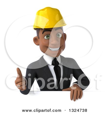 Clipart of a 3d Young Black Male Architect Giving a Thumb up over a Sign - Royalty Free Illustration by Julos