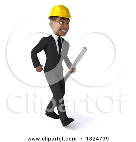 Clipart of a 3d Young Black Male Architect Holding Plans and Walking to the Right - Royalty Free Illustration by Julos