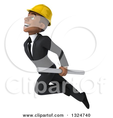 Clipart of a 3d Young Black Male Architect Holding Plans and Flying up to the Left - Royalty Free Illustration by Julos