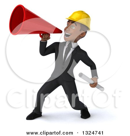 Clipart of a 3d Young Black Male Architect Holding Plans and Announcing to the Left with a Megaphone - Royalty Free Illustration by Julos