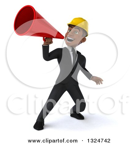 Clipart of a 3d Young Black Male Architect Announcing Upwards with a Megaphone - Royalty Free Illustration by Julos