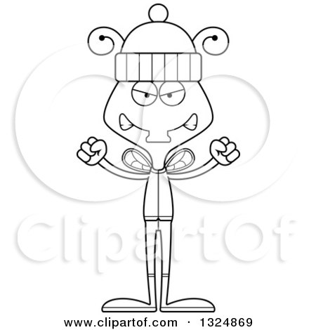 cartoon black and white mad housefly in winter clothes